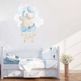 Autocollants et vinyle pour enfants licorne dans le nuage