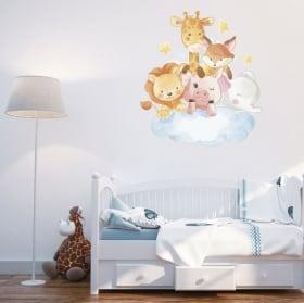 Vinyle et autocollants pour enfants animaux dans le nuage