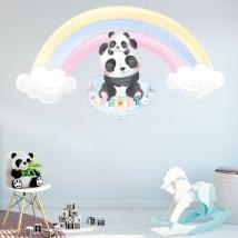Autocollants en vinyle pour enfants ours panda et arc-en-ciel