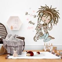 Vinyle décoratif et autocollants fille avec chat