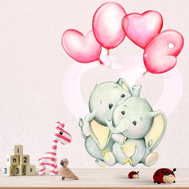 Vinyles et autocollants éléphants avec des ballons love