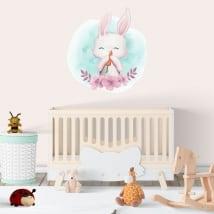 Vinyles et autocollants lapin pour enfants avec des fleurs