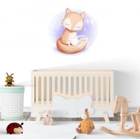 Autocollants en vinyle enfant ou bébé renard et lapin