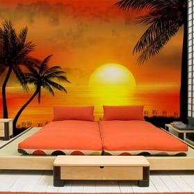 Papiers peints en vinyle illustration de coucher de soleil plage