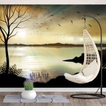 Papiers peints en vinyle illustration paysage coucher de soleil