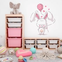 Autocollants en vinyle lapin avec ballon et coeurs