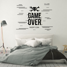 Autocollants de jeux vidéo game over insert coin