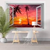 Fenêtres en vinyle 3d palmiers coucher de soleil sur la plage