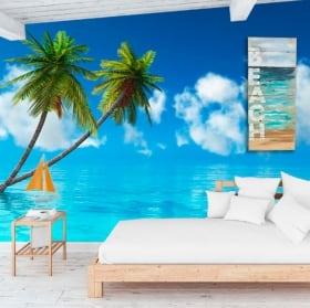 Murales en vinyle palmiers dans la mer