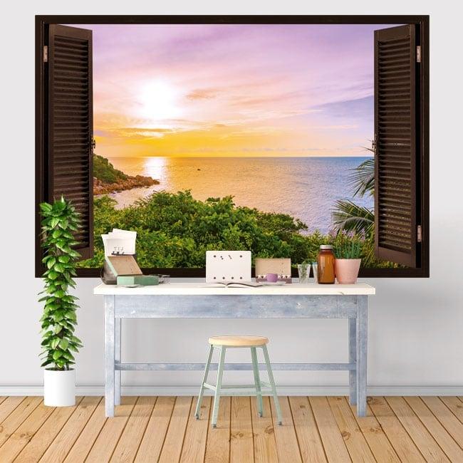 Vinyles et autocollants la fenêtre coucher de soleil dans la mer 3d