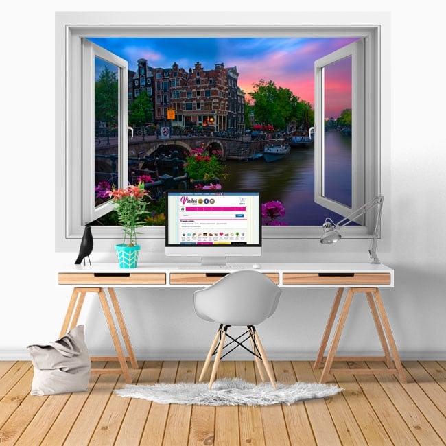 Stickers muraux café papeneiland amsterdam fenêtre 3d