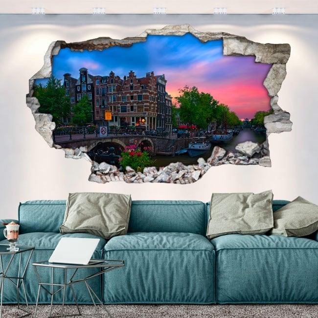 Vinyles mur de trou 3d café papeneiland amsterdam