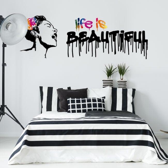 Autocollants en vinyle graffiti banksy la vie est belle