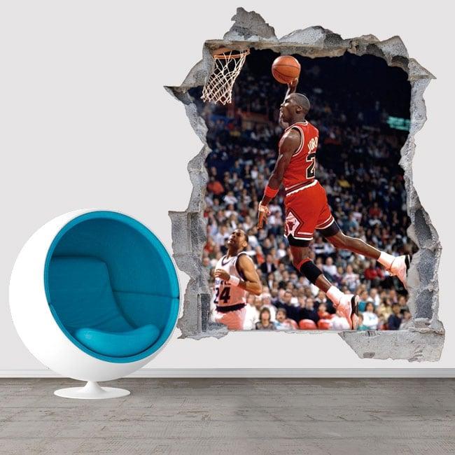 Vinyles et autocollants 3d basketball michael jordan