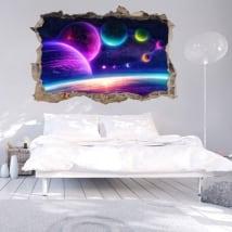 Stickers muraux 3d couleurs de l'espace stellaire