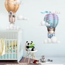 Vinyle et autocollants pour enfants panda et raton laveur en ballon