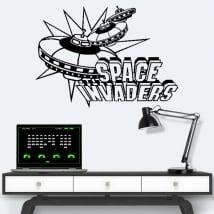 Vinyles et autocollants jeux vidéo rétro space invaders