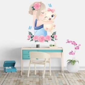 Autocollants en vinyle fille avec chat fleurs et papillons