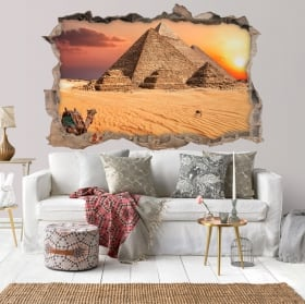 Stickers muraux 3d coucher de soleil egypte pyramides de gizeh