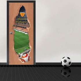Autocollants de porte 3d stade mestalla club de football de valence