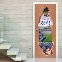 Autocollants de porte 3d société réelle stade de football reale arena