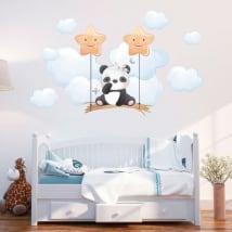 Vinyle et autocollants pour bébé panda sur la balançoire