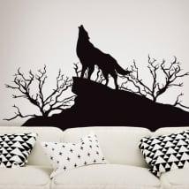 Vinyles décoratifs et autocollants loup dans la nature