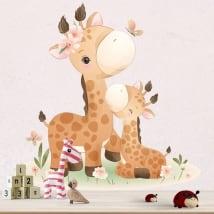 Stickers muraux pour bébés girafes avec des papillons et des fleurs