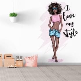 Vinyles décoratifs silhouette de femme avec phrase j'aime mon style