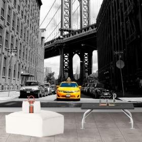 Peinture murale taxi à new york et pont de manhattan