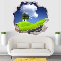 Vinyles et autocollants arbre et route 3d