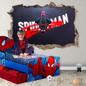 Vinyle et autocollants trou 3d miles morales spider-man