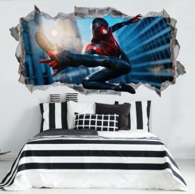 Autocollants en vinyle miles morales spider-man 3d