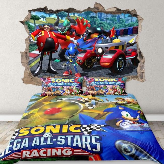Vinyles et autocollants 3d team sonic racing