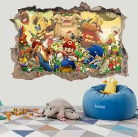 Autocollants en vinyle 3d sonic the hedgehog crossover