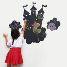 Vinyles tableau noir château avec nuages