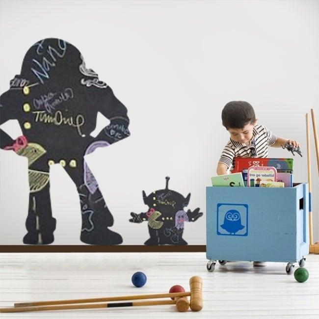 Vinyles tableau noir buzz lightyear et martiens toy story