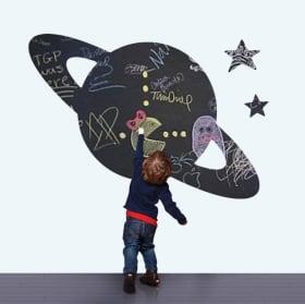 Vinyles tableau noir planète saturne