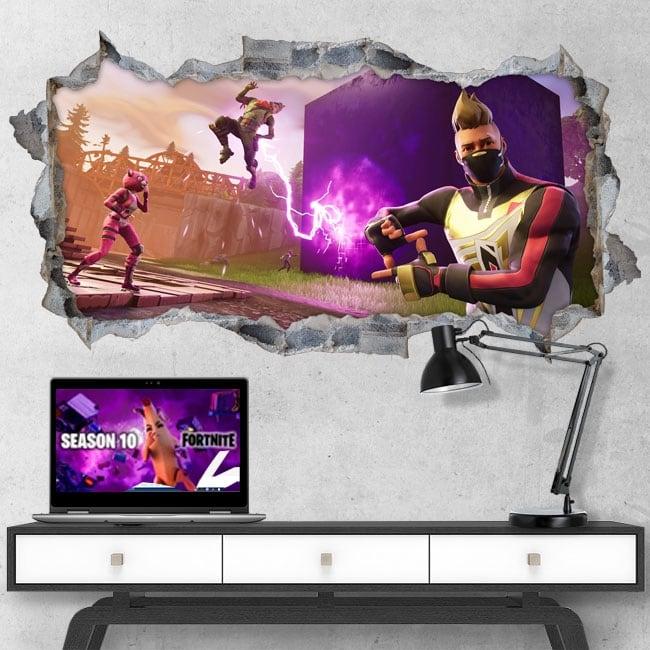 Vinyles décoratifs trou jeu vidéo fortnite 3d