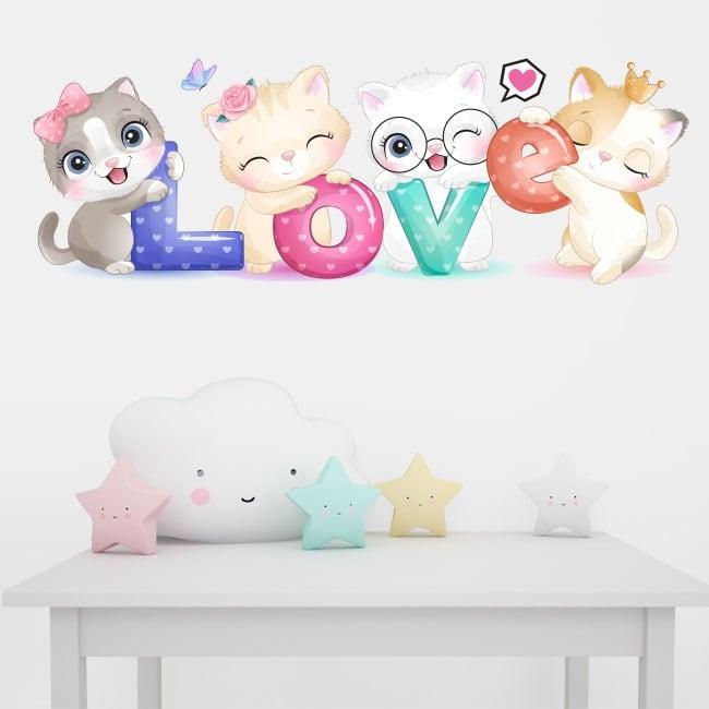 Vinyle et stickers muraux les chats love