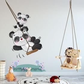 Vinyles et autocollants pour enfants ours panda sur balançoire