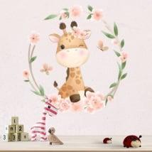 Vinyle et stickers muraux girafe avec des fleurs