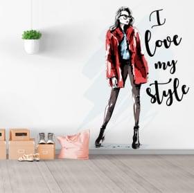 Vinyles et autocollants silhouette femme j'aime mon style