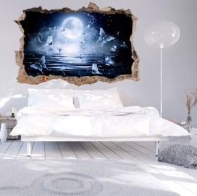 Vinyles 3d pleine lune avec des papillons dans la mer