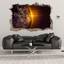 Vinyles 3d planète terre et soleil
