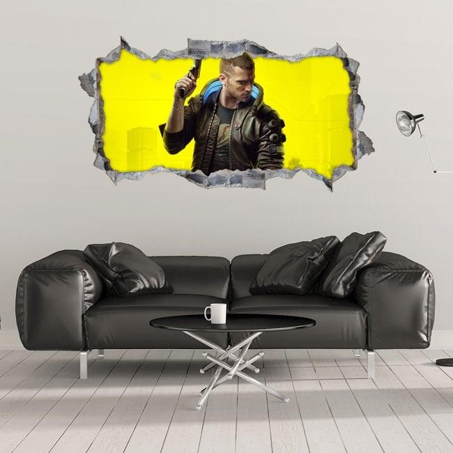 Vinyles décoratifs 3d cyberpunk 2077
