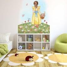 Vinyles adhésifs illustration fille avec des fleurs et des papillons
