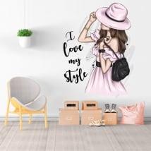 Autocollants en vinyle silhouette femme i love my style
