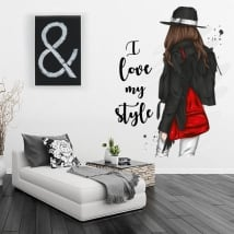 Vinyles silhouette de femme avec phrase i love my style