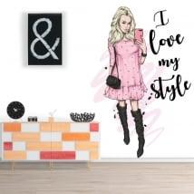 Autocollants en vinyle silhouette femme phrase i love my style
